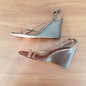Ralph Lauren Leather Wedges Sandals Italy 10B